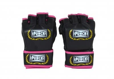 Luva de MMA Profissional Sintética com Velcro Preta/Rosa - Punch