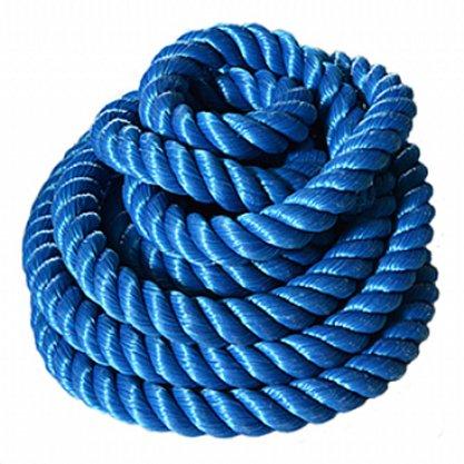 Corda Naval Torcida Polietileno Azul 51mm