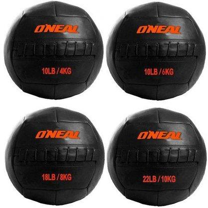Wall Ball Kit 4,6,8 e 10kg Bolas de Couro para Crossfit e Treinamento Funcional -Oneal